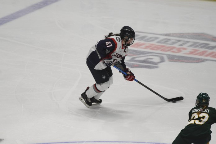 Senior Jaime Fox encompasses what it means to be a UConn women's hockey player. Photo by Kevin Lindstrom/The Daily Campus