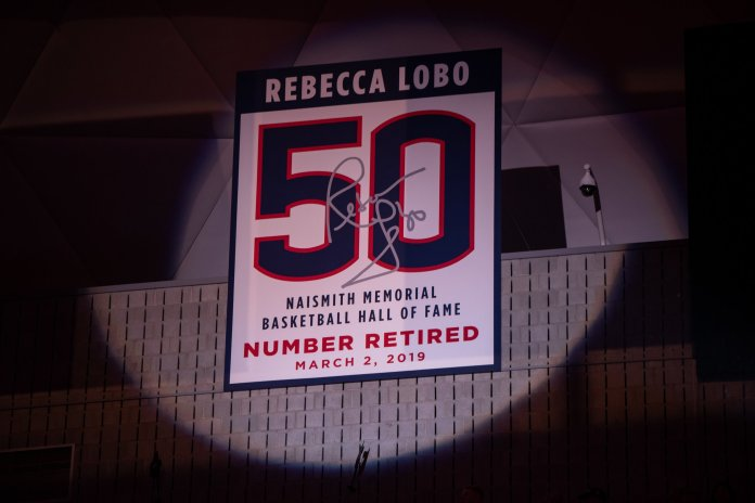 Rebecca Lobo joined the most exclusive club in the UConn women's basketball program. She became the first player to have her number retired. Photo by Charlotte Lao/The Daily Campus