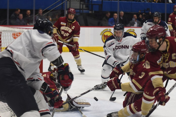 The freshman class led the way once again as UConn improved to 11-20-2 overall and 6-15-2 in Hockey East play. (Judah Shingleton/The Daily Campus)
