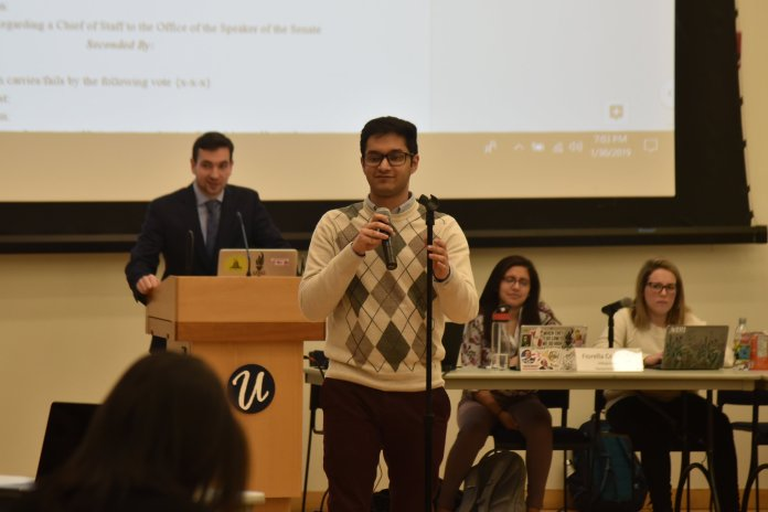 During USG's meeting on a snowy Wednesday, they invited a UConn Alum speaker that previously worked in USG. (Photo by Eric Yang/The Daily Campus)