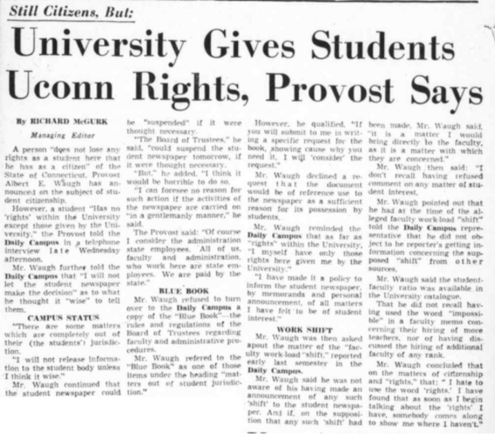 """A student """"has no rights within the university except those given by the university,"""" Albert E. Waugh, University of Connecticut Provost in 1960. (Photo supplied by writer)"""