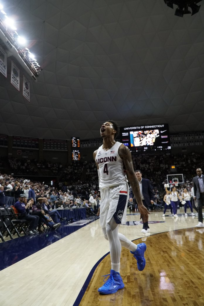 UConn's Jalen Adams leads team to a win in their  final regular season game (Photo by Eric Wang/The Daily Campus)