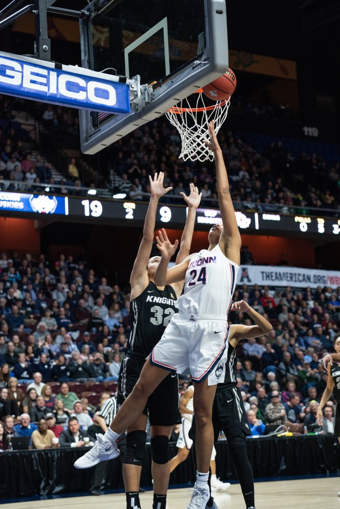 UConn's Napheesa Collier had 25 points and 14 rebounds in the championship game of the AAC tournament (Photo by Charlotte Lao/The Daily Campus)