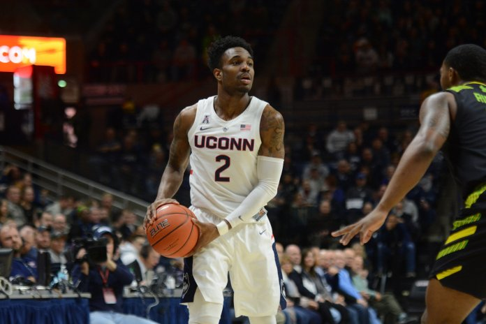With Alterique Gilbert out, Jalen Adams and Tarin Smith will have to carry the load in the backcourt. Photo by Nicholas Hampton/The Daily Campus