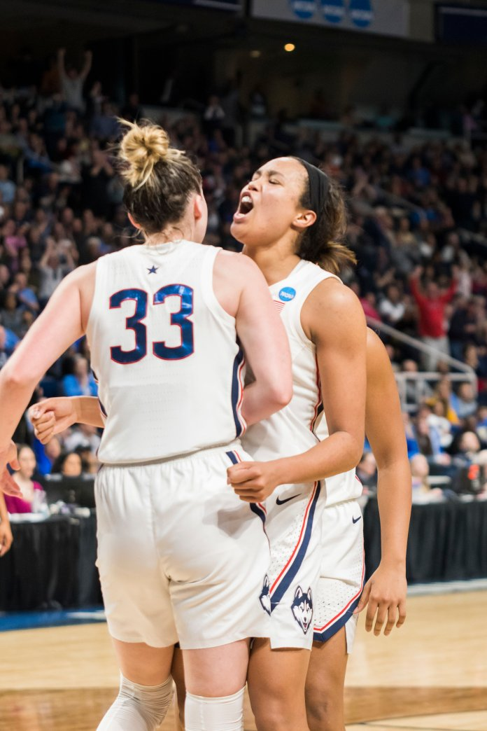 Napheesa Collier had another double-double of 25 points and 10 rebounds as the Huskies advance to the Elite Eight. Photo by Eric Wang/The Daily Campus