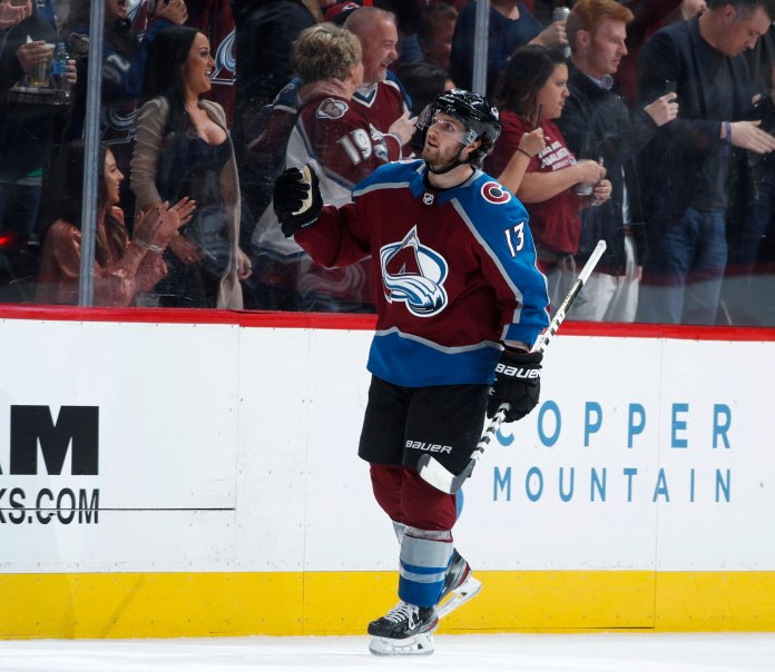 Colorado Avalanche center Alexander Kerfoot reacts after scoring a goal against the Edmonton Oilers in the second period of an NHL hockey game, Tuesday, April 2, 2019, in Denver. (AP Photo/David Zalubowski)
