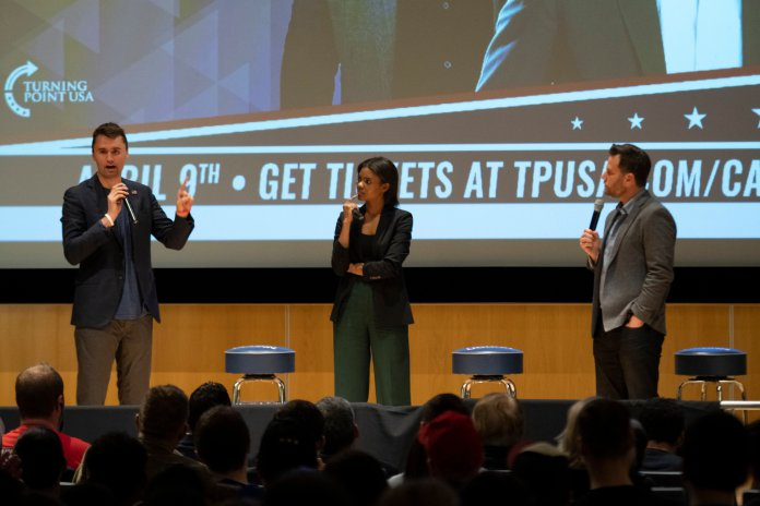 Conservative speakers Dave Rubin, Charlie Kurk and Candace Owens spoke in the Student Union Theater Tuesday night as representatives of Turning Point USA. (Photo by Nicholas Hampton/The Daily Campus)