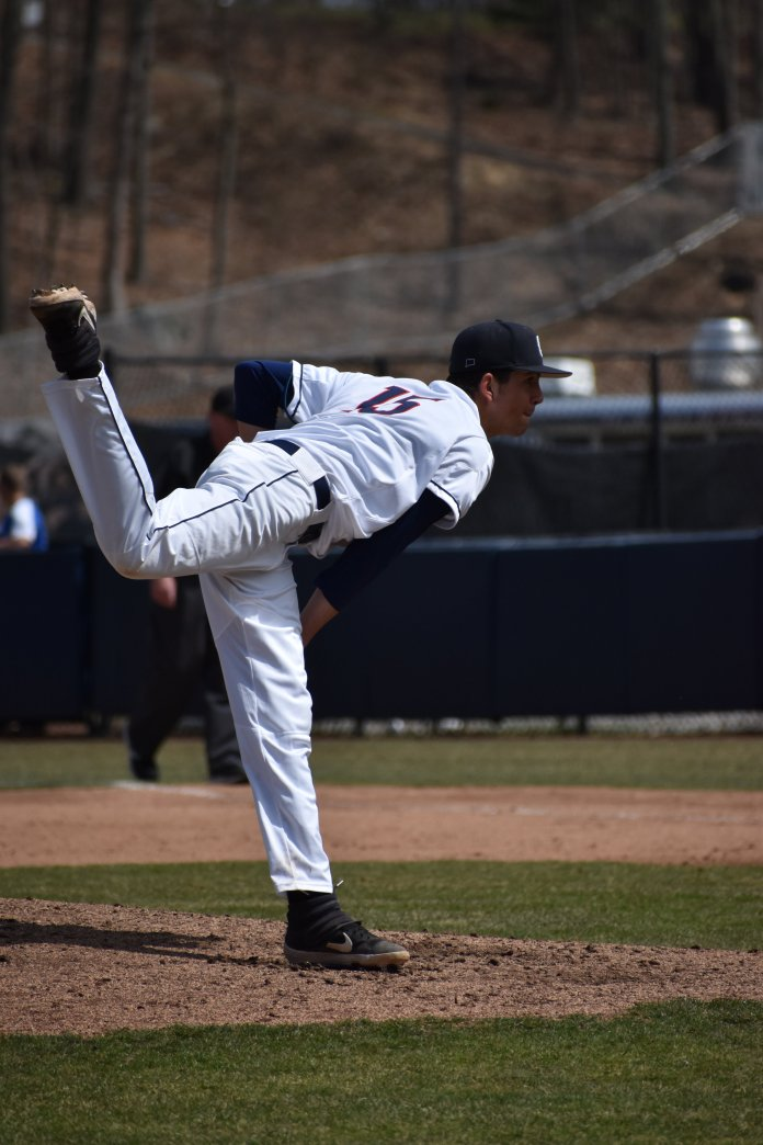 The UConn Huskies beat the University of Memphis 4 - 2, Sunday, at J. O. Christian Field. UConn had a double steal in the eighth inning, a risky move that put them in the position to take back the lead and finish off the game leading by two. (Photo by Kevin Lindstrom/The Daily Campus)