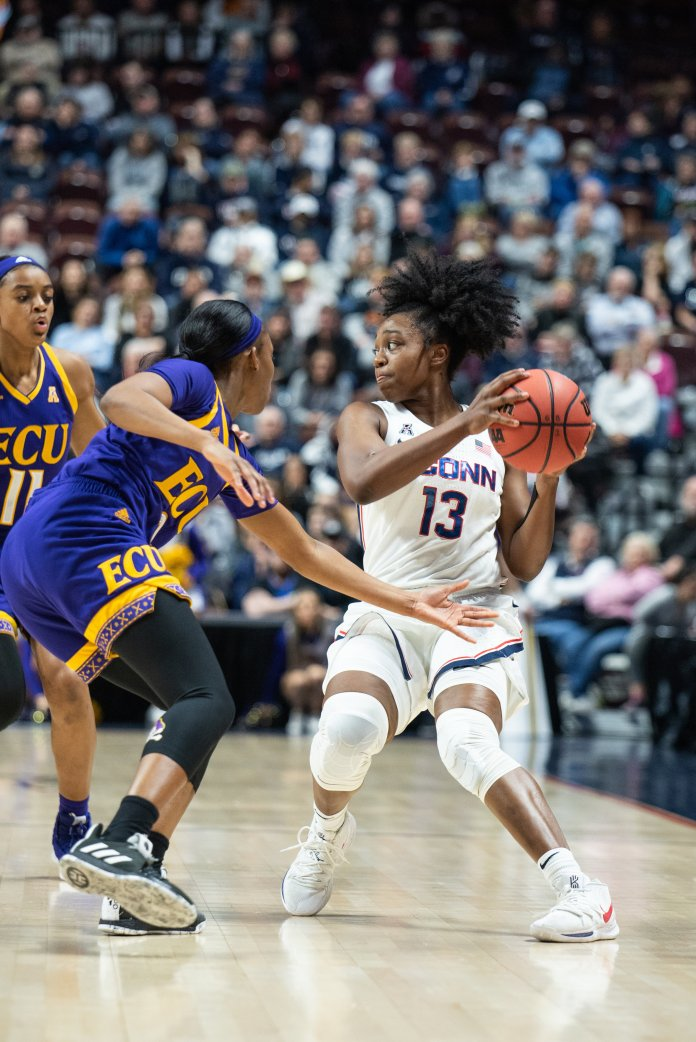 As a freshman, Christyn Williams started all 38 games of the season including this American Athletic Conference tournament win again ECU (Photo by Charlotte Lao/The Daily Campus)