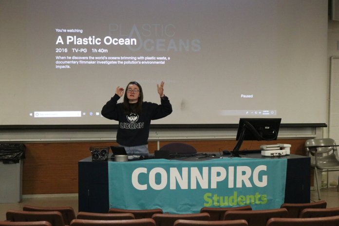 """UConn PIRG puts on a film screening of the film """"A Plastic Ocean."""" A student-led discussion about the film followed the screening. (Maggie Chafouleas/The Daily Campus)"""