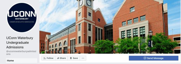 Screenshot of    UConn Waterbury Undergraduate Admissions Facebook Page