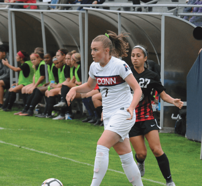Kess Elmore set up the best opportunity of the day when she sent a cross to Regan Schiappa but it did not result in a goal.  Photo by Matthew Pickett /The Daily Campus
