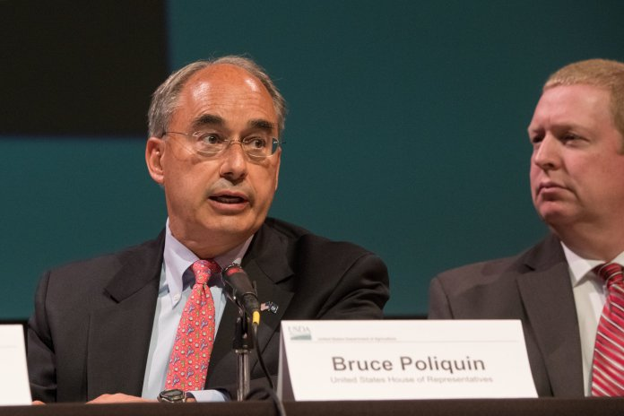 Bruce Poliquin had the lead in the first round of preliminary voting before eventually being beaten by Democrat Jared Golden, leading to a him filing a lawsuit against Maine.  Photo by U.S. Department of Agriculture from Flickr Creative Commons.