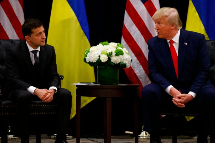 President Donald Trump meets with Ukrainian President Volodymyr Zelenskiy at the InterContinental Barclay New York hotel during the United Nations General Assembly, Wednesday, Sept. 25, 2019, in New York.  Photos courtesy of AP Photo/Evan Vucci.