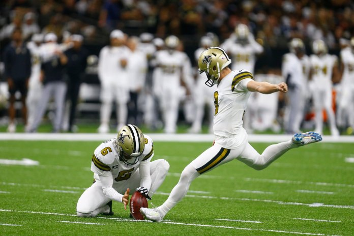 Will Lutz went 4-4 in the win against the Cowboys, accounting for all of the Saints points.  Photo from The Associated Press.