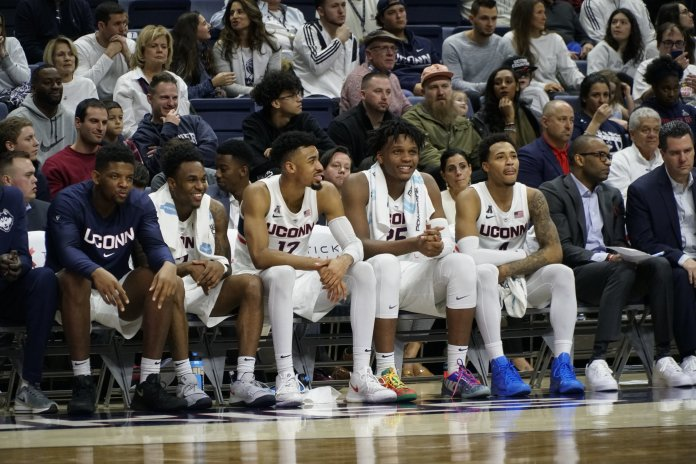 The UConn men's basketball team enters this season with one goal in mind: Win the Athletic American Conference. With several returning players on this year's roster and some key new faces, the Huskies and head coach Dan Hurley believe they can do just that.  Photo by Eric Wang / The Daily Campus.
