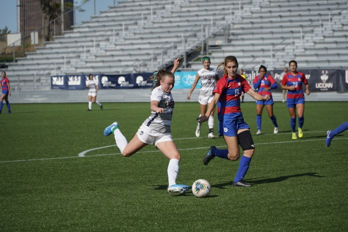 The Huskies won 1-0 against the Southern Methodist University Perunas with a goal by Cara Jordan (26).  Photo by Eric Wang/The Daily Campus