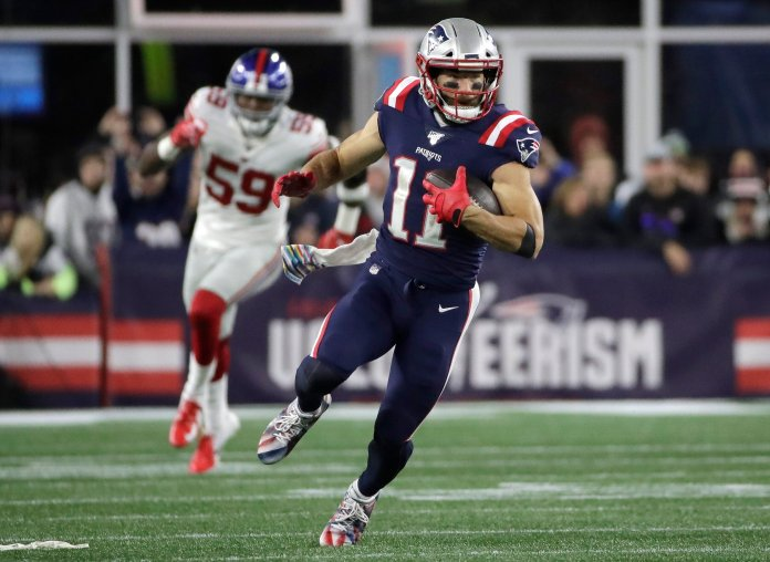 Julian Edelman has recently been added to the long list of Patriots players who are injured heading into week 6, putting to question how much longer they can stay undefeated.  Photo from the Associated Press.
