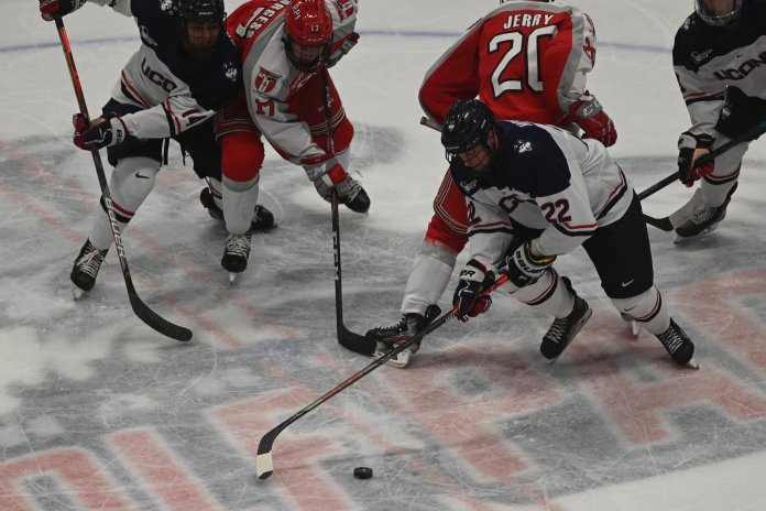 The UConn men's hockey team has a rematch against RPI this weekend, where they will look for redemption after losing 5-3 in their first matchup.  Photo by Eric Wang / The Daily Campus.