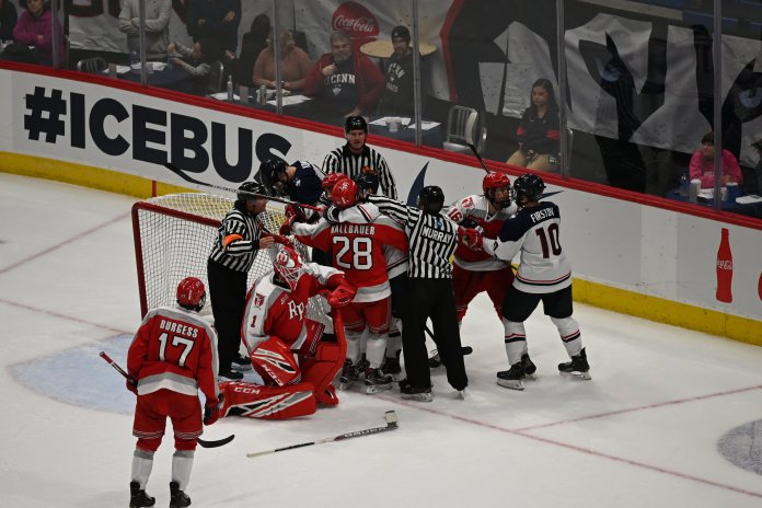 It was a really back and forth game the first time out against RPI with both teams scoring goals in bunches, making way for a great rematch this weekend.  Photo by Eric Wang / The Daily Campus.