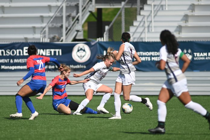 The Huskies won 1-0 against the Southern Methodist University Perunas with a goal by Cara Jordan (26). Their last home game is on 10/31 against Temple University.  Photo by Eric Wang/The Daily Campus