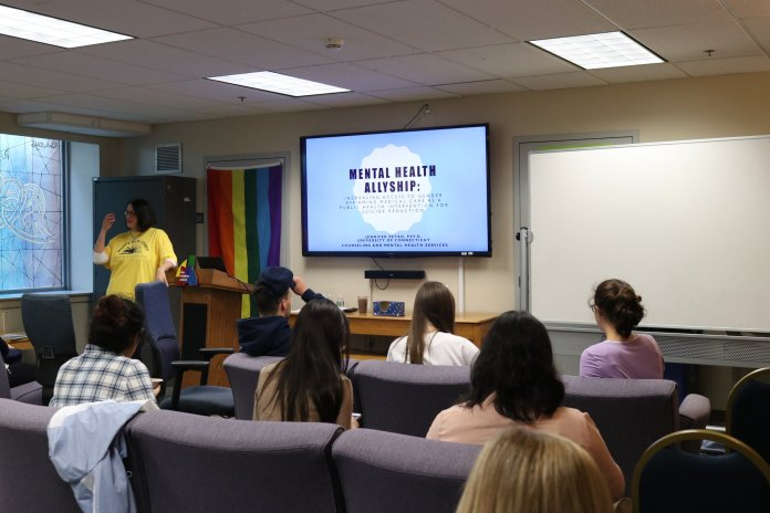 Julia Anderson from the Rainbow Center Program spoke about Asexual Awareness Week and what it means for the asexual community.  Photo by Maggie Chafouleas/The Daily Campus