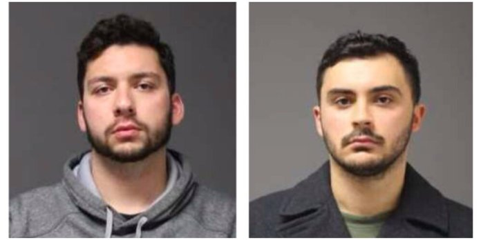 """Two university students arrested Monday night under Connecticut General Statute 53-37 were found to be playing a game turned into the """"N-word game."""" Pictured: 21-year-old Jarred Karal of Plainville, left, and 21-year-old Ryan Mucaj of Granby, right.  Photos courtesy of UConn Police Report"""
