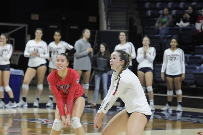 Sophomore Caylee Parker once again leads the team in kills and digs this season, and will need to keep her strong performances coming in a tough matchup against Tulsa.  Photo by Kourtney Drew / The Daily Campus.