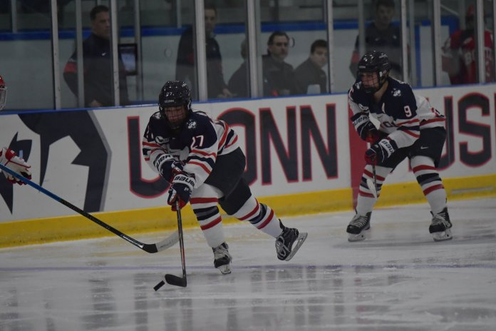 The Huskies are scheduled to compete against Colgate, Mercyhurst and Minnesota Duluth.  Photo by Kevin Lindstrom / The Daily Campus.