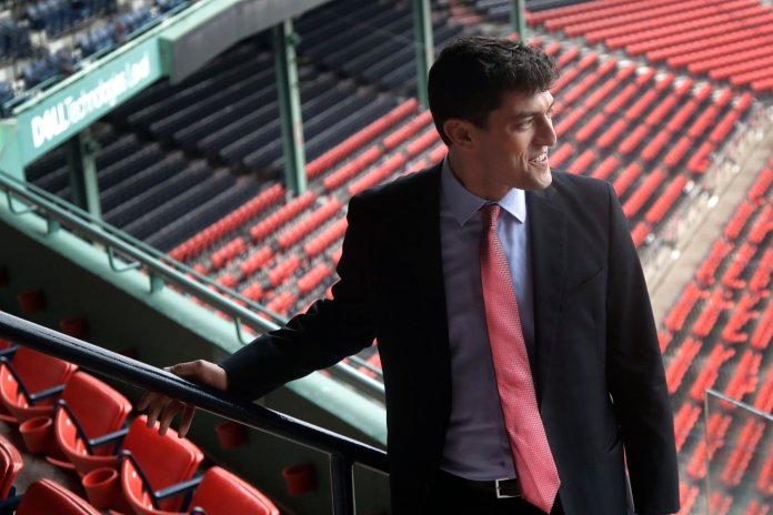 Chaim Bloom was recently introduced as the newest Chief Baseball Officer of the Boston Red Sox.  Photo from the Associated Press.