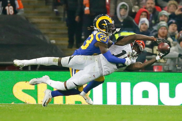 Los Angeles Rams defensive back Nickell Robey-Coleman (23) defends a pass against Cincinnati Bengals wide receiver Auden Tate during the second half of an NFL football game, Sunday, Oct. 27, 2019, at Wembley Stadium in London.  Photo by Tim Ireland/AP