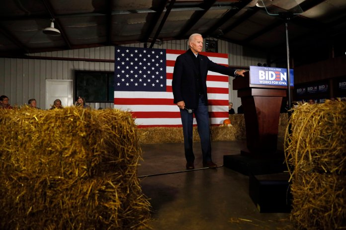 Democratic presidential candidate former Vice President Joe Biden speaks during a town hall meeting at the Jackson County Fairgrounds, Wednesday, Oct. 30, 2019, in Maquoketa, Iowa. (AP Photos / Charlie Neibergall)