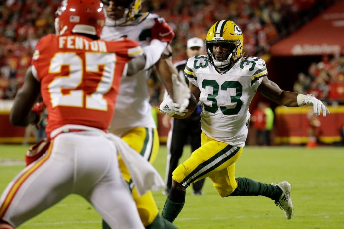 The Green Bay Packers have gotten off to an incredible start this seasons, and are currently in first in the NFC North. This is in no small part due to the improved defense, Aaron Rodgers, and most significantly, running back Aaron Jones.  Photo from the Associated Press.