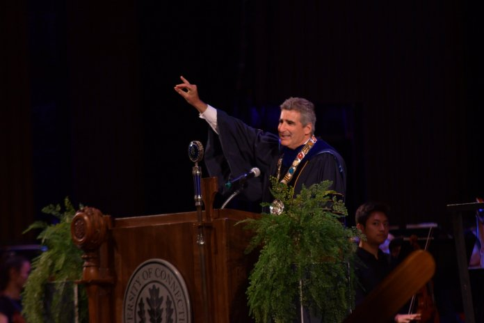 In this Oct. 4, 2019 photo UConn's sixteenth president Thomas Katsouleas is inaugurated in Jorgensen Theatre in front of a crowd of trustees, delegates, deans, and students. The President announced Wednesday night the halt of Supplemental Utility Building developments.  Photo by Kevin Lindstrom / The Daily Campus.