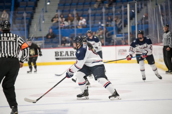 The Men's Hockey lost to the Army West Point on Friday 1-2 after Army scored a second goal at 15:50 in the 2nd period after a back to back goal at the 3 minute mark. Their next home game is on 11/3 against Merrimack at the XL Center.  Photo by Eric Wang/The Daily Campus