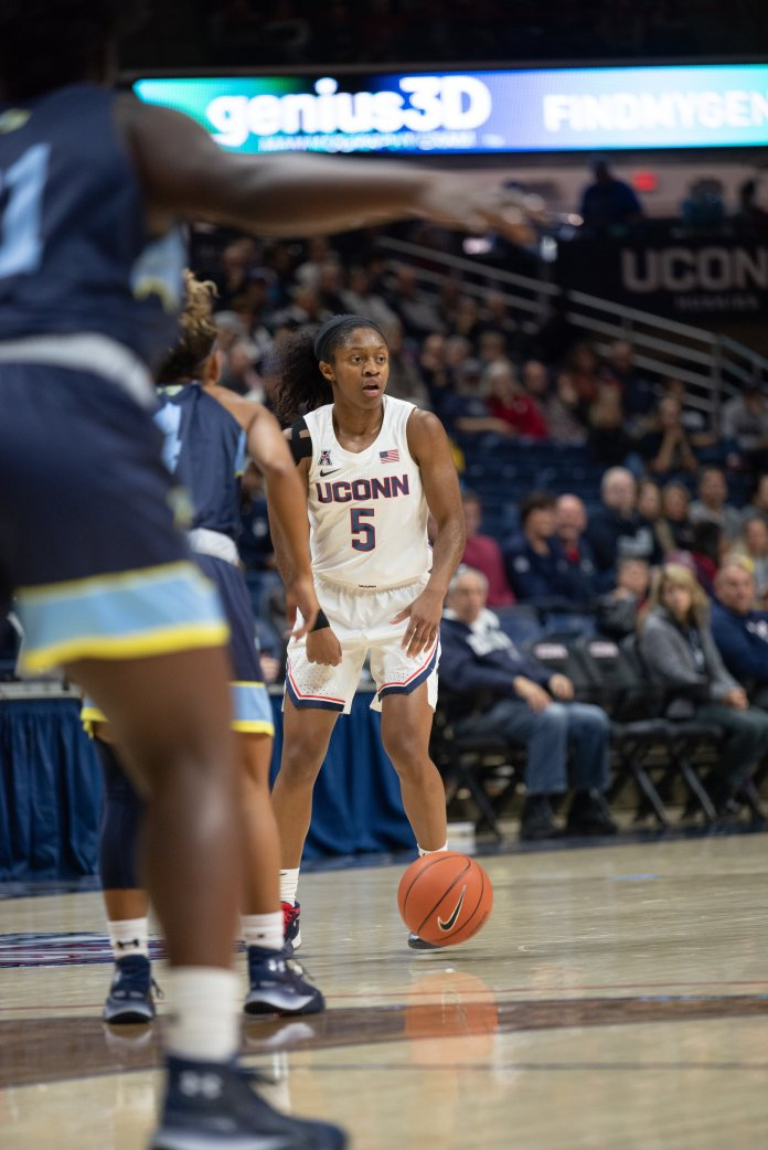 Crystal Dangerfield emerged as a leader in the UConn Huskies' most recent game.  Photo by Charlotte Lao/The Daily Campus