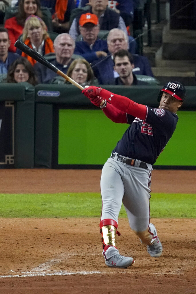 Washington Nationals' Juan Soto watches his RBI-single against the Houston Astros during the eighth inning of Game 7 of the baseball World Series Wednesday, Oct. 30, 2019, in Houston.  Photo by Eric Gay/AP