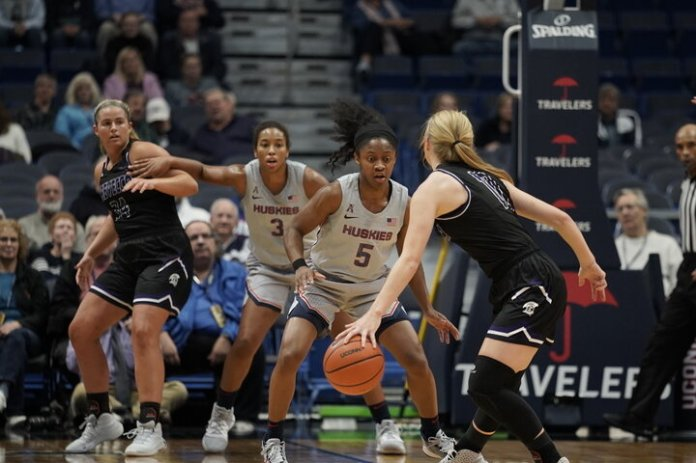 The Huskies played their last exhibition game against Trevecca Nazarene with a final score of 99-54. This game was coordinated between UConn and Crystal Dangerfield's former high school coach. Their next home season game is on Sunday, Nov. 10 against UC Berkeley (Cal) at Gampel Pavilion.  Photo by Eric Wang / The Daily Campus