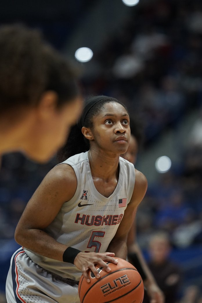 Crystal Dangerfield is locked into one of the first four starting spots for the UConn women's basketball team.  Photo by Eric Wang / The Daily Campus