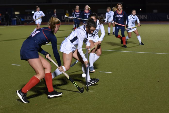 Freshman Sophie Hamilton was named to the All-Big East First Team alongside Svea Boker and Cheyenne Sprecher.  Photo by Sofia Sawchuk / The Daily Campus.