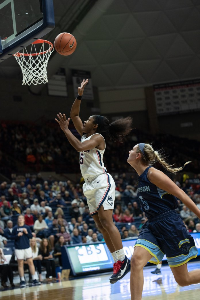 Crystal Dangerfield will be leading the way for the Huskies as the only starting senior on the team.  Photo by Charlotte Lao / The Daily Campus.