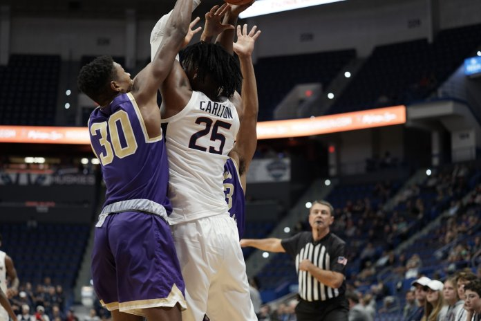 Carlton made huge strides between his freshman and sophomore year, and will look to take another step in a crucial junior year as UConn's lead big man.  Photo by Eric Wang / The Daily Campus