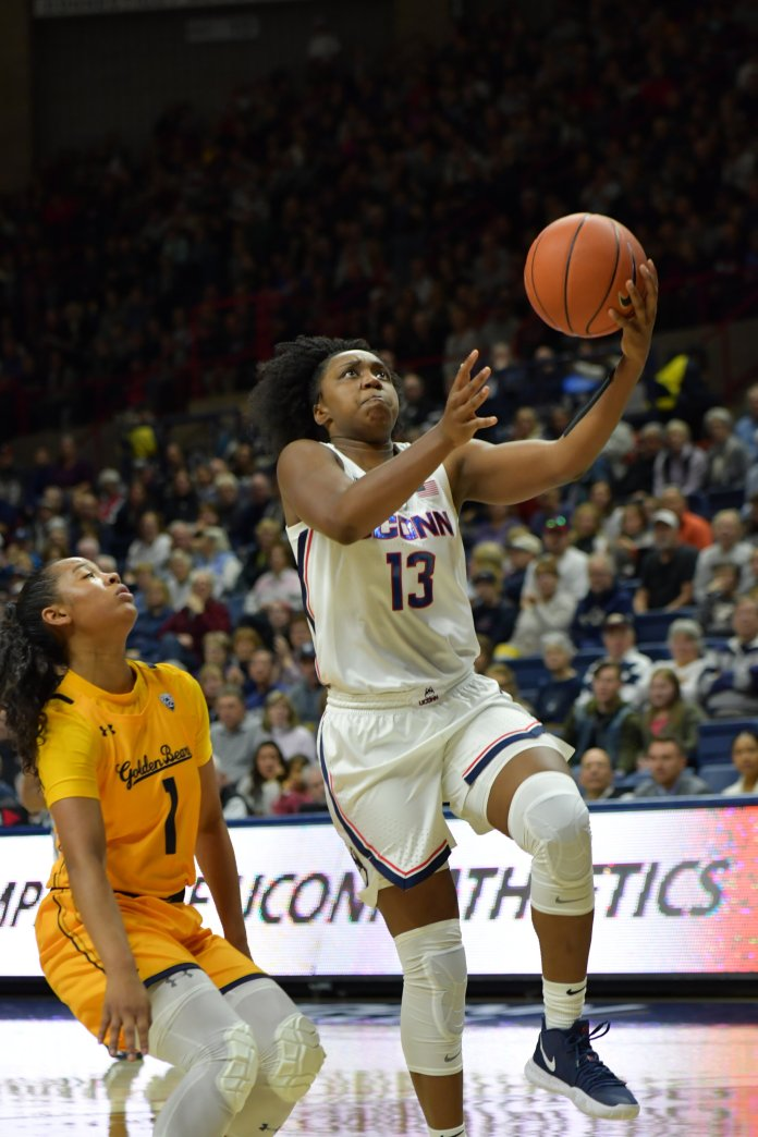 The Huskies beat the California Golden Bears 72-61 in Gampel Pavilion Sunday afternoon. UConn maintained the lead for most of the game and never allowed California to be up by more than one point.  Photo by Kevin Lindstrom/The Daily Campus