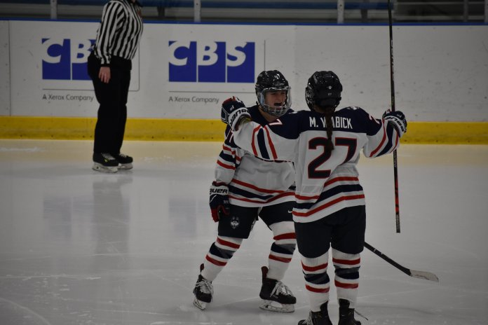 The UConn's women's hockey team finished with a tie of 2-2 against the University of Vermont at the Freitas Ice Forum Friday, Nov. 15, 2019.. The Huskies picked up a point with the tie, and pushed their unbeaten streak to three games.  Photo by Sofia Sawchuk/The Daily Campus