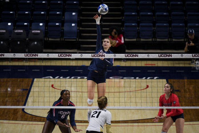The UConn's women's volleyball team takes on the UCF Knights in its final match of the 2019 season at Gampel Pavilion on Saturday, Nov 16, 2019. The Match resulted in a 3-1 win for UCF.  Photo by Judah Shingleton/The Daily Campus