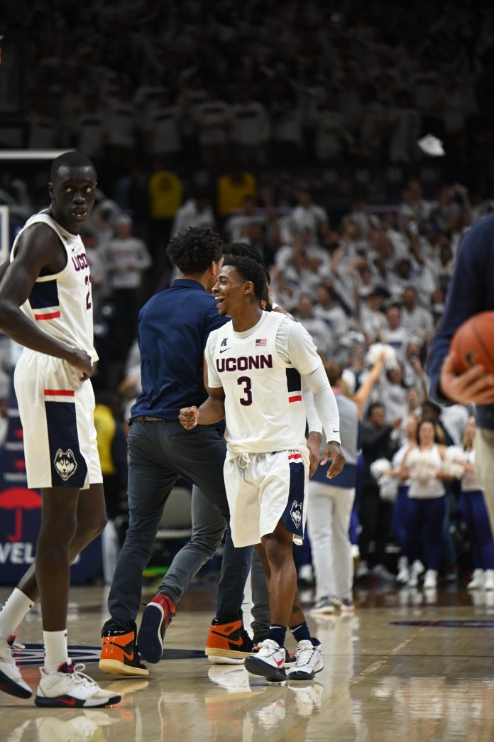 The Huskies defeated Florida at Gampel Pavilion Sunday, Nov. 17, 2019. It was an astounding turnaround, from an unimaginably bad loss to the first win over a ranked opponent at Gampel since 2013.  Photo by Charlotte Lao/The Daily Campus