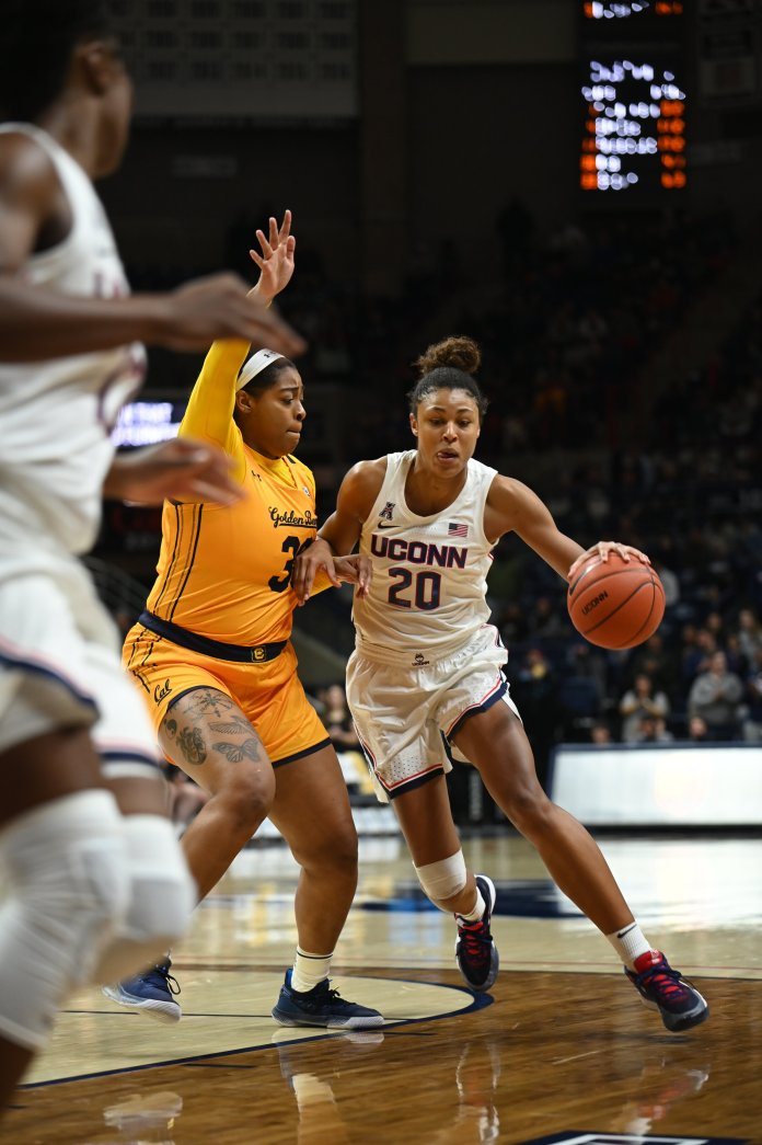 Olivia Nelson-Ododa has been vital for the Huskies' success early on, earning her first Conference Player of the Week.  Photo by Charlotte Lao / The Daily Campus.