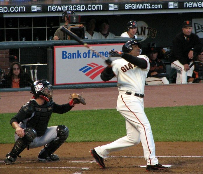 Barry Bonds in action.  Photo by Kevin Rushforth via    flickr