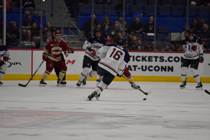 The Huskies are coming off a huge weekend against UMass Lowell, where they tied and won a game in the series. They will look to carry that  Photo by Kevin Lindstrom / The Daily Campus.