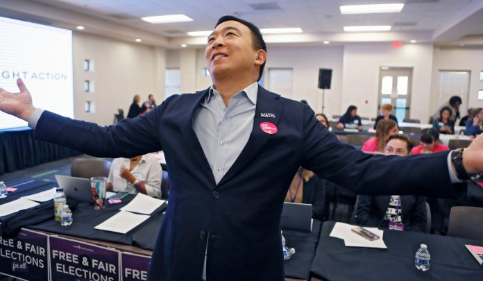 Candidates like Andrew Yang are talking some big talk but will likely fall short when the time comes for election.  Photo from the Associated Press.